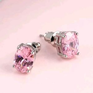 Jewelry - Pink Crystal Oval Stud Earrings